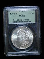 1883-O $1 MORGAN SILVER DOLLAR - PCGS MINT STATE 63 OLD GREEN HOLDER