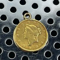1853 UNITED STATES $1 GOLD LIBERTY COIN IN BEZEL 1.7 GRAM WE