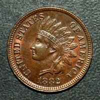 1882 INDIAN HEAD CENT  UNCIRCULATED UNC DETAILS  1C  COIN N874 TRUSTED