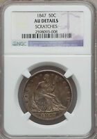 1847 SEATED LIBERTY HALF DOLLAR NGC AU DETAILS 50C CENT SILVER TYPE