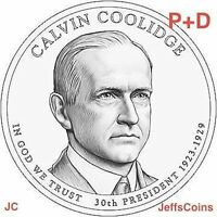 2014 P&D CALVIN COOLIDGE PRESIDENTIAL GOLDEN DOLLAR $BU VIA MINT ROLL 2 COIN SET