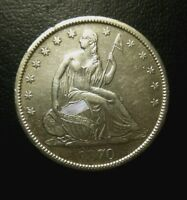 1870 S SEATED LIBERTY HALF DOLLAR $1 ABOUT UNCIRCULATED BU  KEY DATE NICE