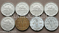 CANADA 1937 TO 1945 GEORGE VI 5 CENT SET  8 COINS  NICKEL CIRCULATED  NO 1938