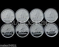 CANADA 2009 TO 2016 SET OF 10 CENTS UNC  8 COINS