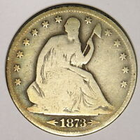 1873 S SEATED HALF DOLLAR   NICE AND ORIGINAL COLOR   HARD TO FIND DATE