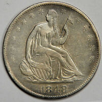 1848 O SEATED HALF DOLLAR   NICE XF WITH SOME ORIGINAL LUSTER! UPGRADEABLE?