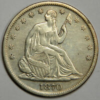 1870 S SEATED HALF DOLLAR   NICE SHARP AU   REDUCED FOR QUICK SALE