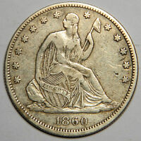 1860 SEATED HALF DOLLAR   NICE XF   PRICED TO SELL!