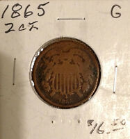 1865 US TWO CENT COIN  2 PIECE   CIVIL WAR YEAR 275