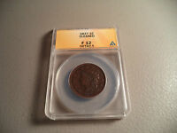 1837 1C CORONET HEAD LARGE CENT ANACS F12 DETAILS CLEANED COPPER COIN ONE CENT