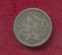 1872 THREE CENT NICKEL  CIRCULATED