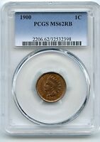 1900 INDIAN HEAD CENT PCGS MS 62 RB