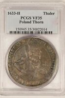 POLAND 1633 H THALER CITY OF THORN! PCGS VF35   LY !