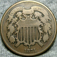 1871 TWO CENT PIECE 2CP --- LOW MINTAGE --- P014