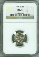 1970 D MS65 NGC ROOSEVELT DIME 10C BUSINESS STRIKE WHITE !