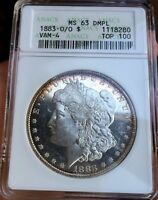 1883 O/O $1 MORGAN SILVER DOLLAR ANACS MS63DMPL DEEP MIRROR PL VAM 4 TOP 100