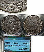 CANADA   LARGE CENT   1881H DIE CLASH VARIETY    VF20