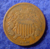 1867 TWO-CENT-PIECE 2 TWO CENTS SHIELD COIN LOW COMBINED SHIPPING TH4