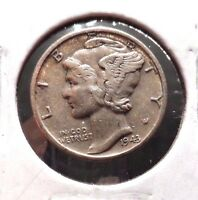 CIRCULATED XF IN GRADE 1943D SILVER MERCURY DIME !