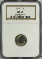 1970 D ROOSEVELT DIME NGC MS67