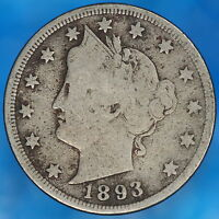 1893 LIBERTY V NICKEL HIGHER GRADE KEY DATE COLLECTOR COIN M3482