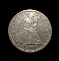 1844 SEATED ONE DOLLAR $1 AU ABOUT UNCIRCULATED  KEY DATE 20,000 MINTED