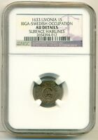 LIVONIA SWEDISH OCCUPATION LATVIA SILVER 1633 SOLIDUS RIGA MINT AU DETAILS NGC