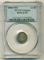 BOLIVIA SILVER 1800 PTS PP 1/2 REAL GENUINE PCGS