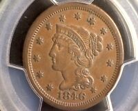 1846 PCGS AU 53 BRAIDED HAIR LARGE CENT 1C   SMALL DATE   N 20 R.3