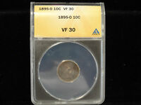 US 1895O BARBER DIME ANACS VF30   GREAT  KEY DATE COIN