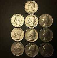 1981 1989 SET OF 10 WASHINGTON QUARTERS SET