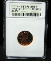 1998-S PROOF LINCOLN CENT - ANACS  PF 68   HVY CAMEO - 1950
