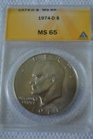 1974 D EISENHOWER IKE DOLLAR ANACS CERTIFIED MINT STATE MS 65 4521299