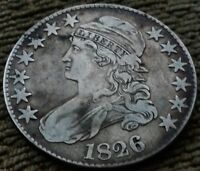 1826    CAPPED BUST,LETTERED EDGE HALF DOLLAR   AU/VERY FINE    TONING