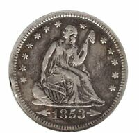1853 SEATED LIBERTY QUARTER DOLLAR ANACS ARROWS & RAYS EF DETAIL CLEANED