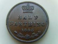 1843 HALF FARTHING QUEEN VICTORIA BRITISH COIN GREAT BRITAIN