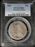 1806 DRAPED BUST HALF DOLLAR, 50C, PCGS FR02 SUPER LOW GRADE TO