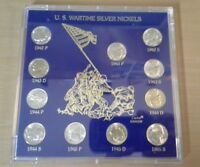 11 US WARTIME SILVER NICKELS IN ACRYLIC HOLDER 1942 1945
