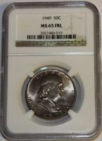 1949 FRANKLIN HALF 50C MS65 FBL NGC BEAUTIFUL WHITE COIN