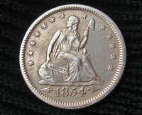 1854 O SEATED LIBERTY QUARTER   XF DETAILS 15821