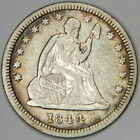 1844 SEATED QUARTER   NICE BLUE/GOLD RIM TONED XF PRICED FOR QUICK SALE