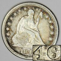 1846/46 SEATED QUARTER   EXTREMLY  OVERDATE VP 001 & B 2D VARIETY   XF