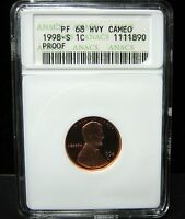 1998-S PROOF LINCOLN CENT - ANACS  PF 68   HVY CAMEO - 1890