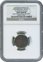 PROOF JEFFERSON 5C EXPERIMENTAL PLANCHET W/MINT NOTES DISCOVERY PIECE NGC
