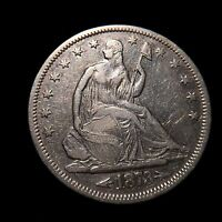1873 S ARROWS SEATED LIBERTY HALF DOLLAR 50C AU ABOUT UNCIRCULATED  KEY DATE
