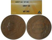 1837 LARGE CENT  FINE 30 ANACS GRADED