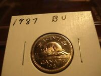1987   CANADA NICKEL   BRILLIANT UNCIRCULATED 5 CENT CANADIAN COIN