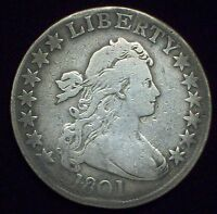 1801 DRAPED BUST HALF DOLLAR SILVER O-102 VARIETY  R-4 AUTHENTIC KEY DATE