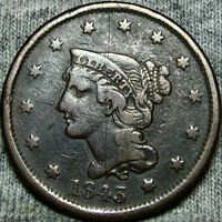 1843 BRAIDED HAIR LARGE CENT TYPE PENNY SOME DAMAGE      TYPE COIN       K731