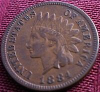 1884 INDIAN HEAD CENT   EXTRA FINE  OR AU   NICE TONING